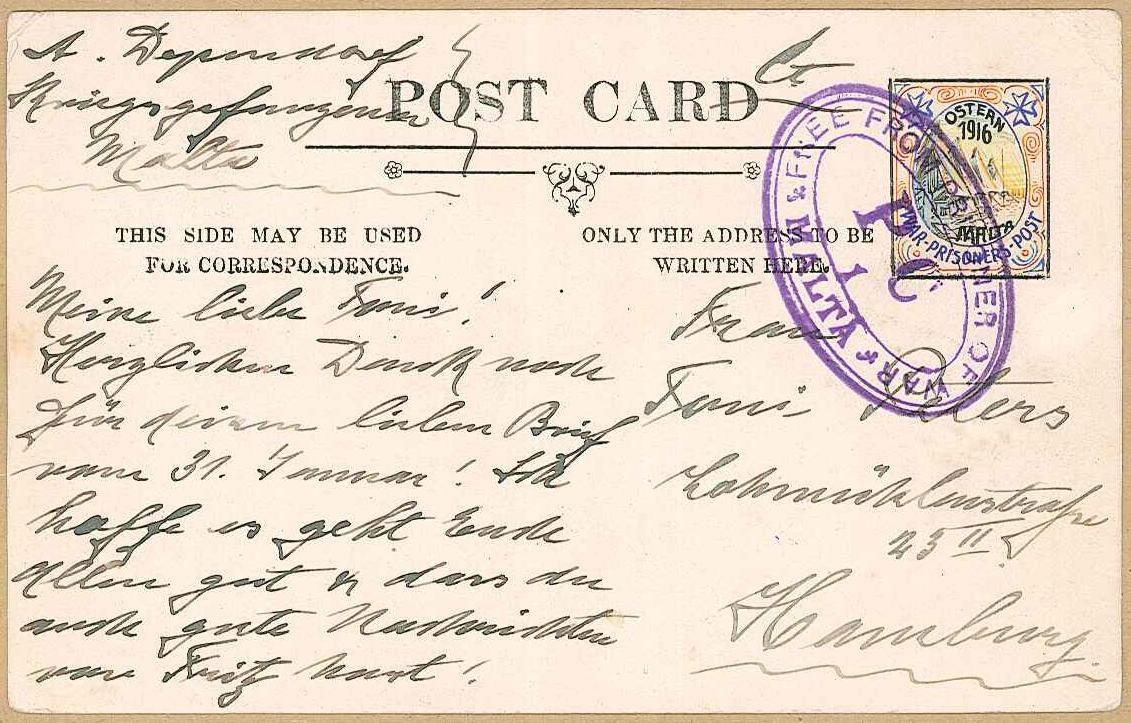 Malta Prisoner of War postcard